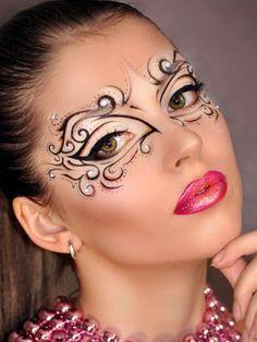 Make-up - Make-up - Makeup Carnaval, Masquerade Mask Makeup, Creative Makeup Looks, Unique Makeup, Maquillage Halloween, Halloween Makeup, Makeup Art, Eye Makeup, Makeup Tips