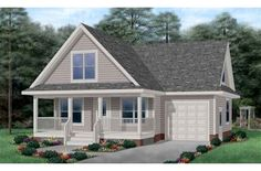 Cottage Style House Plans - 1272 Square Foot Home , 2 Story, 3 Bedroom and 2 Bath, 1 Garage Stalls by Monster House Plans - Plan Cottage Style House Plans, Bungalow House Plans, Country House Plans, Cottage Plan, Duplex House, Cottage Living, Luxury Floor Plans, Home Design Floor Plans, House Floor Plans