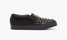 Miharayasuhiro Black Calf Hair Studded Slip-On Sneakers