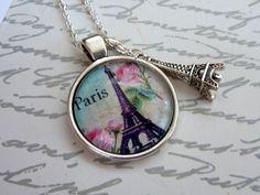 Paris Halskette in silber mit Eiffelturm Motiv von Schmuckdesign-Onlineshop auf DaWanda.com