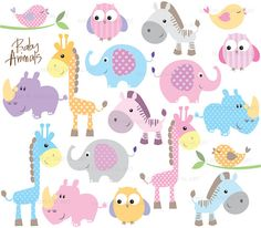 Baby Animal Clipart Digital Clip Art Cute by MayPLDigitalArt. , via Etsy. http://www.mimoinfantil.com.br/