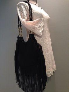 Black Leather Fringe Bag Boho Bag Saddle Bag Hippie by MLMhandbags, $157.00
