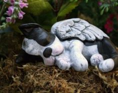 Boston Terrier Angel Statue Dog Angel Concrete Memorial so cute! Pitbull Terrier, Terrier Puppies, Bulldog Puppies, Dog Garden Statues, Sculpture Garden, Eyes Closed, Boston Terrier Love, Boston Terriers, English Terrier