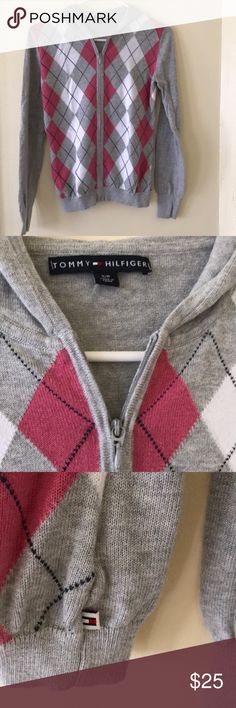 Tommy Hilfiger argyle sweater Tommy Hilfiger argyle full zip hoodie. Gently used, great condition ( as shown in the pictures). Colors: pink, white, grey. Tommy Hilfiger Sweaters Cardigans