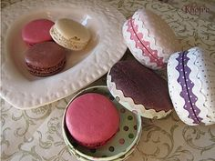 macaron boxes made from cardboard and fabric