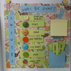 DIY meal planner / dinner menu for fridge with scrapbook paper and magnet buttons