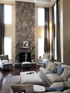 Make your home worth living in. Our client chose to envelope her family room with decorative panels in a our very textural fabric, Carrington Pewter, to up the level of coziness. Drapery Styles, Decorative Panels, Pewter, Family Room, Envelope, Curtains, Fabric, Home Decor, Tin