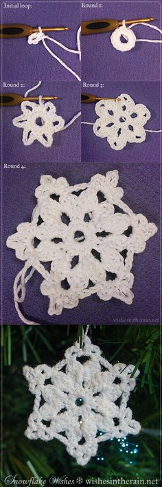 Crochet Flowers Ideas Free crochet snowflake pattern More - A free, easy pattern for a larger crochet snowflake. Thread Crochet, Crochet Crafts, Crochet Yarn, Yarn Crafts, Crochet Flowers, Free Crochet Snowflake Patterns, Crochet Snowflakes, Crochet Christmas Ornaments, Holiday Crochet