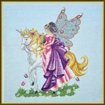 Magical Journey #crossstitch. Rarely one can still see the Elf and her faithful companion deep in the forest meadow...one can hear the whispers of the leaves and her powerful unicorn's hooves go clip clop, clip clop. Inspired by the writings of J. R. R. Tolkien. Contact Hoffman Distributing for wholesale information http://hoffmandis.com/