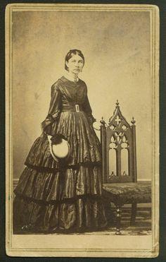 Michigan woman with ruffles civil war dress hat