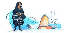 Zaha Hadid Celebrated in Latest Google Doodle,Zaha Hadid in front of the Heydar Aliyev Center. Image via Google Doodles