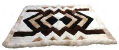 Original peruanischer Alpaka #Fellteppich braun weißes Zackenmuster (90 x 60