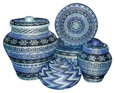 Just exquisite! - Hand-beaded box and basket set.