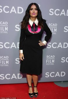 Chic: Salma Hayek did just that while arriving at the SCAD Savannah Film Festival for a sc...
