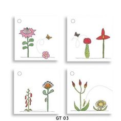 Gift Tags Assorted packs of 4 gift tags, 50 x 50mm. South African flowers and animals by artists Fiona Berrisford and Sheila Petousis. Africa map by cartographer Chris Berens.  www.peek.org.za