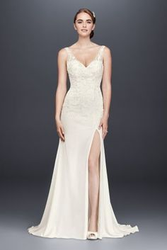 This chic stretch-crepe sheath wedding gown features airy illusion tank  straps 9157fe9b7ab9