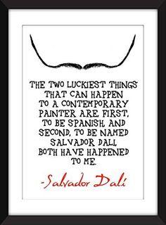 """Salvador Dali """"Suerte"""" Cita A5 / A4 / A3 / 11 x 14/8 x 10/5 x 7 """"impresión, arte de la tipografía, regalo para los amantes del arte - 'Luck'"""