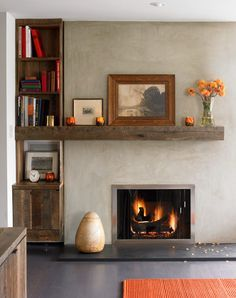 gas fireplace living room rustic built-in wood bench - Google Search