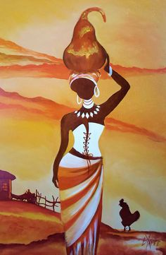 African Woman (Hut and Fence) - L Yaffe African Wall Art, African Art Paintings, African Artwork, African Drawings, Afrique Art, African American Art, African Women, Diy Canvas Art, South African Artists