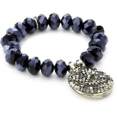 "Tova Jewelry ""Bicone Disc Stretch"" Navy Bracelet"