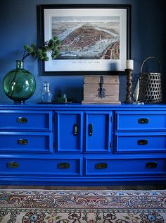 JILL DANYELLE ART + DESIGN a favorite shot. blue dresser, floral kilim, vignette, Benjamin Moore Dior Gray, California Blue
