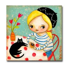 ORIGINAL French Girl with BLACK CAT at the cafe in Paris by tascha