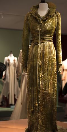 Cut! Costume and Cinema Exhibit. August 11, 2016.   Ornate pleating and ropes complete this stunning gown for Hamlet.    Photo © Amanda Simonelli www.amandasimonelli.com