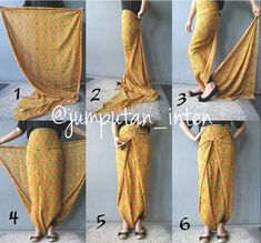 Tie a sarong, harem pants style. Batik Fashion, Ethnic Fashion, Hijab Fashion, Diy Fashion, Ideias Fashion, Fashion Dresses, Fashion Tips, Batik Kebaya, Batik Dress