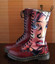 f70aca97db27 Unique Dr Martens Andy Warhol POP ART vintage boots 14eylet rare England  docs