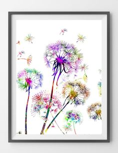 Dandelion Watercolor Print, Wall Art, wall decor Gift, Giclee Print, Dandelion close up poster, wall art, botanical art, love dandelions Illustration [NO27]. Sizes: 8x10, 12x16, 16x20, 18x24, 24x36 Pa More