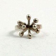 Vintage Sterling Silver Beaded Snowflake Modernist Ring, US 6, UK L Half by mybooms on Etsy