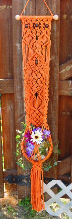 """Macrame plant hanger wall hanging, 50"""" CARROT, hanging planter, orange plant…"""