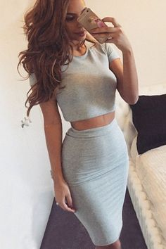 Tight Fashion Round Neck Two-Piece Dress