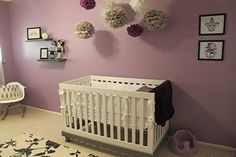 Our baby girl's purple, grey and white feminine: We put a lot of time and love into decorating and personalizing our baby girl's tattoo femme nursery.  The nursery was designed for our daughter, Rowan,