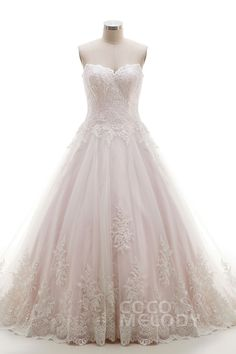 Entzückendes Ärmelloses A-Linie Brautkleid in Elfenbein/Blassem Rose und Tüll mit Spitze Pinselschleppe Schnürkorsett und Applikationen B14A0052