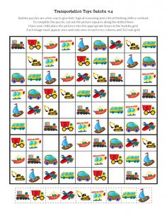 Transportation Toys Sudoku Puzzles - Gift of Curiosity Math Games, Math Activities, Sudoku Puzzles, Scissor Skills, Little Pet Shop, Critical Thinking Skills, Home Schooling, Coloring For Kids, Speech Therapy