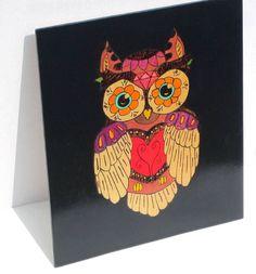 Original owl art, owl gift, day of the dead art, wood burned art, kids wall art, pyrography art, owl decor, halloween decor, wall art, - pinned by pin4etsy.com