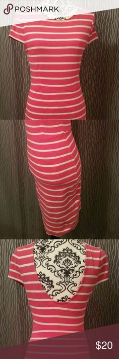 FOREVER 21 Essentials Pink Striped Dress M L FOREVER 21 Essentials Pink Striped Dress M L  Pink with white stripes pattern. Short sleeve. Pull on. Stretchy dress for the perfect fit. Scoop back. Size M, L   New without tags. Forever 21 Dresses Mini