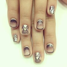 geo ombre nails