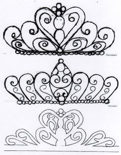 Billedresultat for tiara template for cake Cake Icing, Royal Icing Cookies, Cupcake Cakes, Fruit Cakes, Royal Icing Templates, Royal Icing Transfers, Cake Borders, Fondant Toppers, Chocolate Decorations