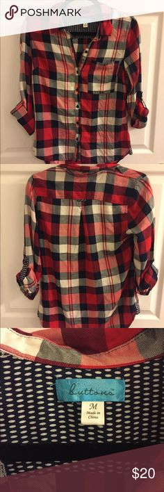 Red and Navy Plaid Shirt Red and navy colored plaid button down shirt with cream coloring too! Size M Tops Button Down Shirts