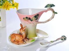 3Pcs Deer Take a Nap under a Pine Tree Franz Porcelain Coffee set/ Cup saucer and Spoon