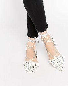 ASOS LAUNCH Studded Lace Up Ballet Flats