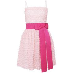 D&G Pale Pink Barbie Ruffle Dress ($455) ❤ liked on Polyvore featuring dresses, vestidos, pink, robes, zipper corset, long ruffle dress, pink frilly dress, pink bow dress and pink corset dress