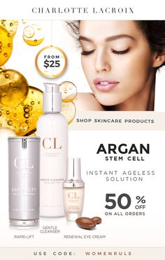 3 magic products to fight wrinkles and fine lines! Get visible results with Charlotte Lacroix Argan Stem Cells collection, starting at $25!  Christmas campaign: 50% OFF EVERYTHING! Discover more www.charlottelacroix.com