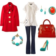 Red Turquoise Casual Outfit!! hmm,  I just need the shoes and purse oh and the bracelet ...