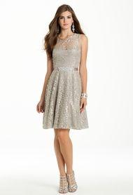 Metallic Lace with Beaded Sash Dress