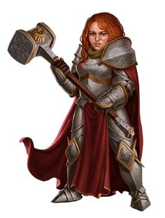 Female Dwarf Paladin Knight Fighter with Warhammer - Pathfinder PFRPG DND D&D 3.5 5th ed d20 fantasy