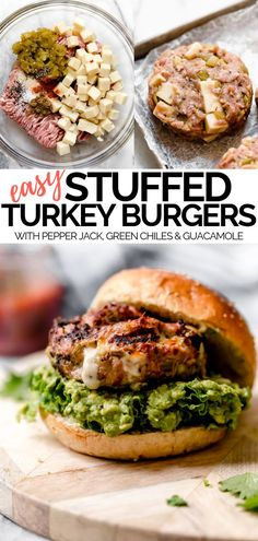 Stuffed Southwest Turkey Burgers - plays well with butter - - Stuffed Southwest Turkey Burgers are mega juicy, mega cheesy, & mega flavorful, with bursts of spicy chiles & creamy guacamole in every single bite. Homemade Turkey Burgers, Ground Turkey Burgers, Best Turkey Burgers, Grilled Turkey Burgers, Greek Turkey Burgers, Stuffed Turkey Burgers, Cheese Stuffed Burgers, Beef Burgers, Veggie Burgers