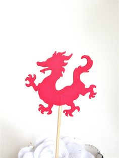12 Red Dragon Cupcake Topper  Food Pick  Party by TweedleDDesigns, $5.00